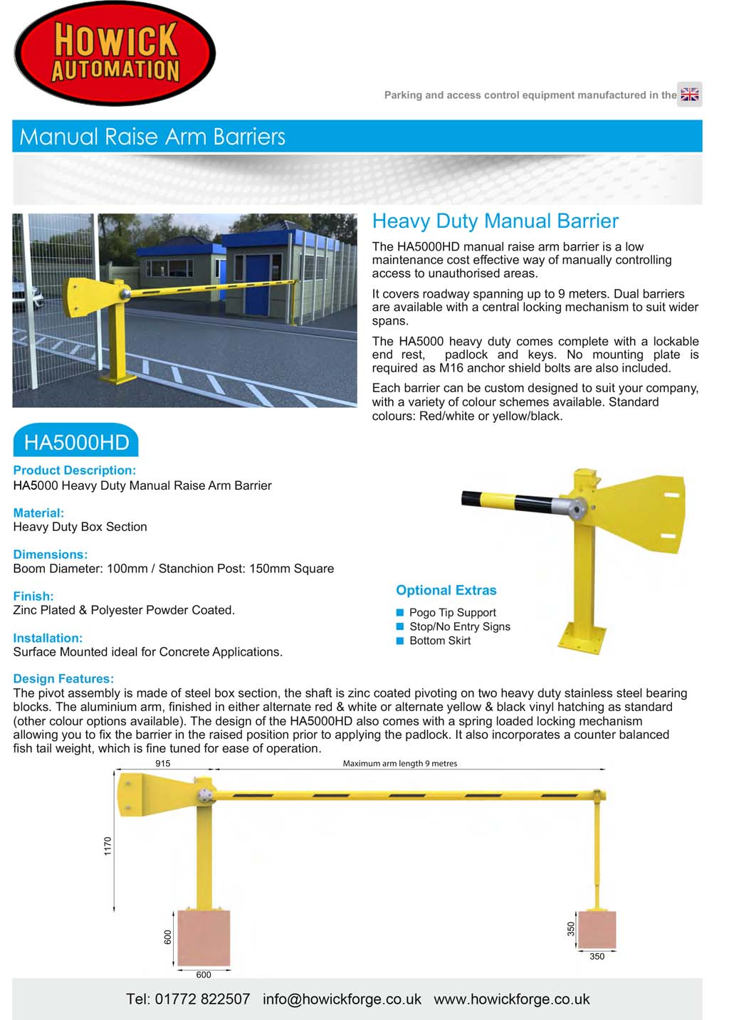 HA5000HD Manual raise arm barrier